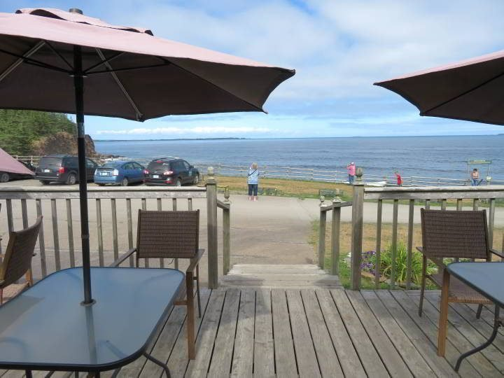 Seaside view from the cafe patio at Ovens Natural Park Nova Scotia