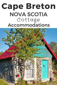 Cape Breton Nova Scotia cottage accommodations like this adorable turquoise cottage with red rooftop could be your next vacation lodging