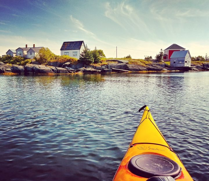 Kayaking near Jesse Stone house at Stonehurst East Nova Scotia