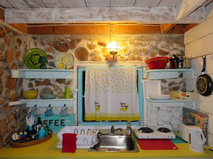 Colorful kitchen at Cabot Trail cottage Cape Breton accommodations