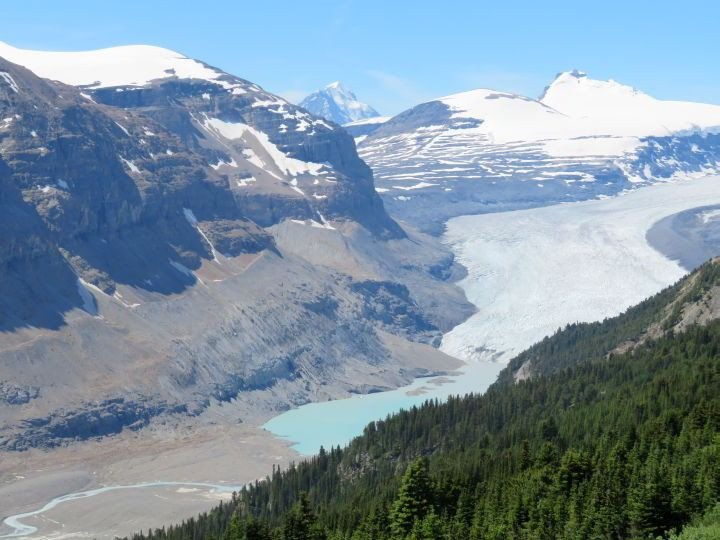 Stunning view of Saskatchewan Glacier at Parker Ridge Trail, easy hike along the Icefields Parkway (Hwy 93) in Banff National Park