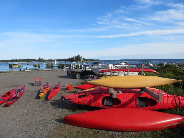 Sea kayaks at Pleasant Paddling in Blue Rocks Nova Scotia