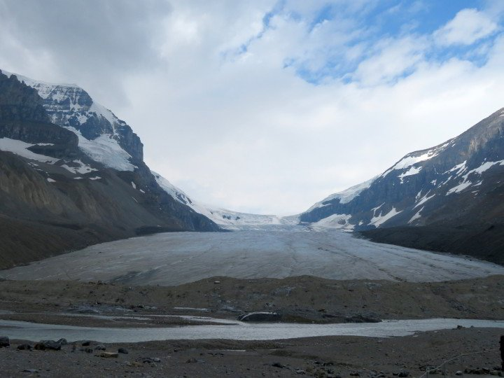 Toe (base) of the Athabasca Glacier - Columbia Icefields in the Canadian Rocky Mountains