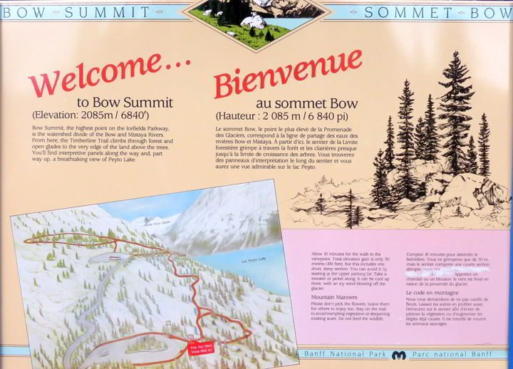 At 2,085 m (6,840 ft) Bow Summit is the highest point on the Icefields Parkway