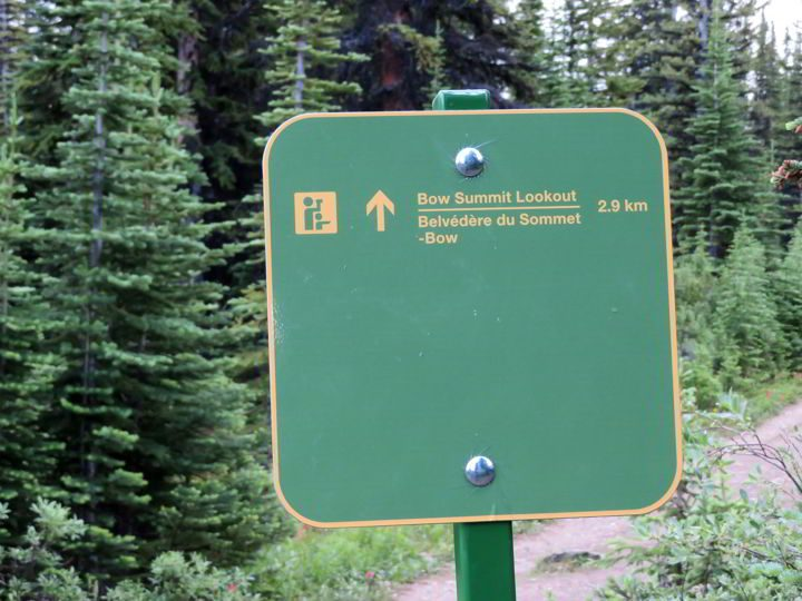 Bow Summit trail distance marker at Peyto Lake Icefields Parkway Alberta Canada