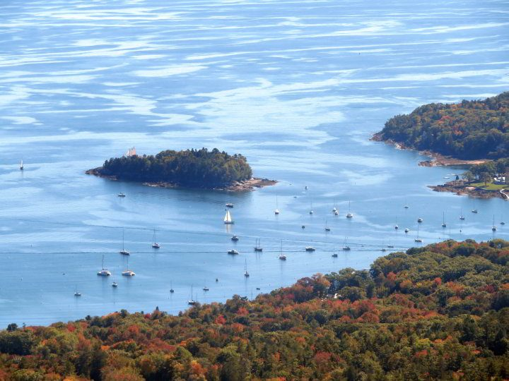 Close-up of Camden Harbor from Ocean Lookout on Megunticook trail at Camden Hills State Park