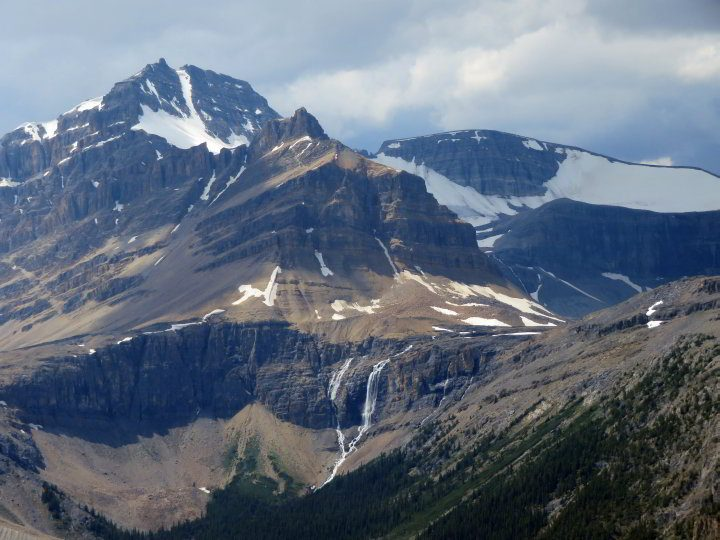 Close-up view of the Canadian Rockies from Bow Summit trail