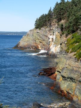 Rocky coastline view from Gaff Point hiking trail