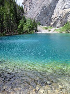 Grassi Lake Canmore hike pristine turquoise glacial waters