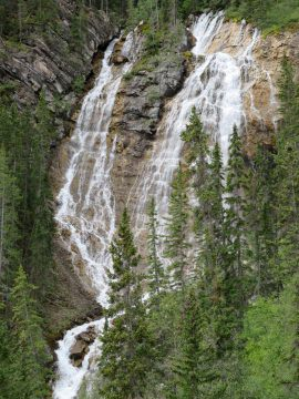Grassi Lakes hiking trail waterfall