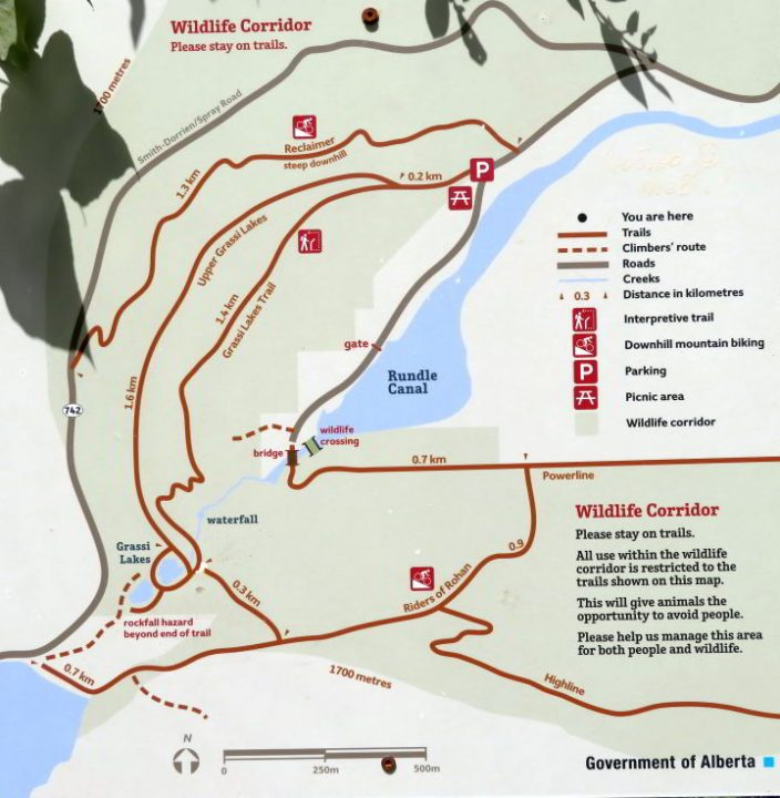Grassi Lakes Trail map. Canmore hiking trail in Kananaskis Country Alberta Canada