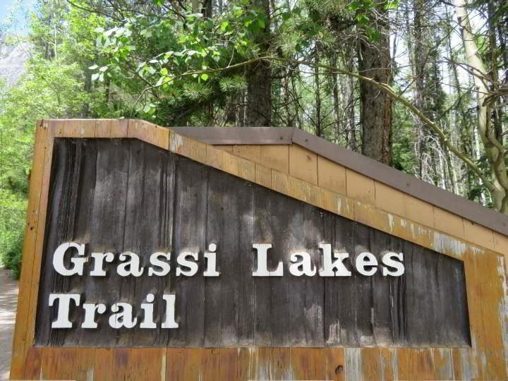 Grassi Lakes Trail sign at the trailhead in Kananaskis