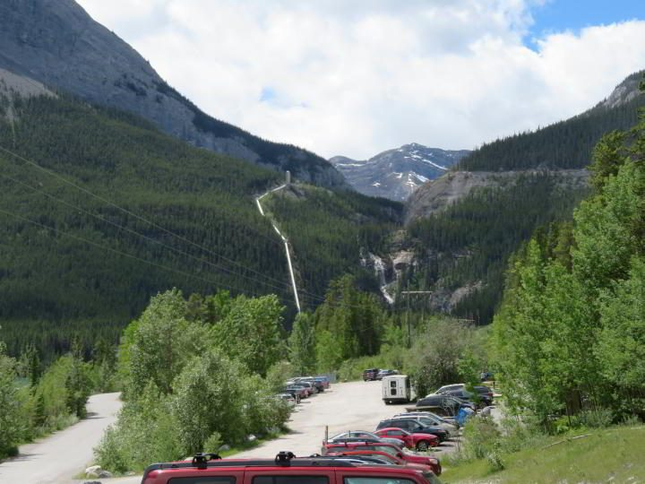 Grassi Lakes Trailhead parking area in Kananaskis Alberta