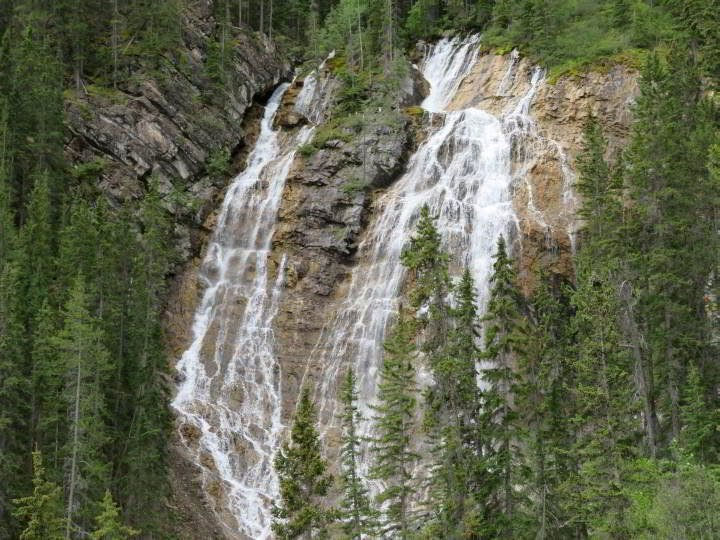 Waterfall at Grassi Lakes Trail Canmore hike