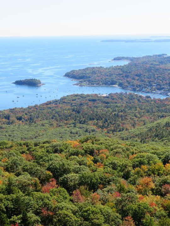 View of Camden Harbor from the ocean lookout on Megunticook trail in Camden Hills State Park