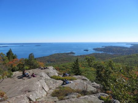 Camden Maine Hiking Ocean Lookout Trail with Fall Foliage