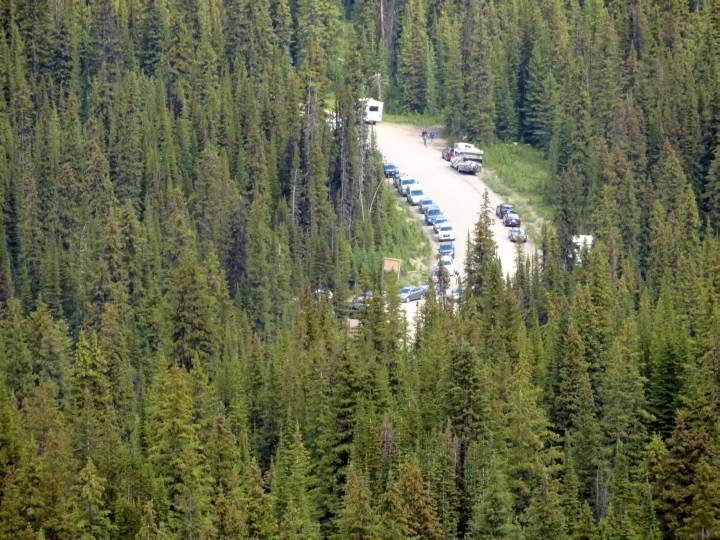 Overflow parking at Bow Summit Peyto Lake