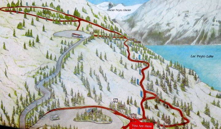Map of Peyto Lake Lookout Trail at Bow Summit parking area on Icefields Parkway Banff Alberta Canada