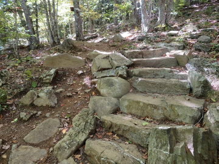 Stone stairs at Megunticook hike in Camden Maine