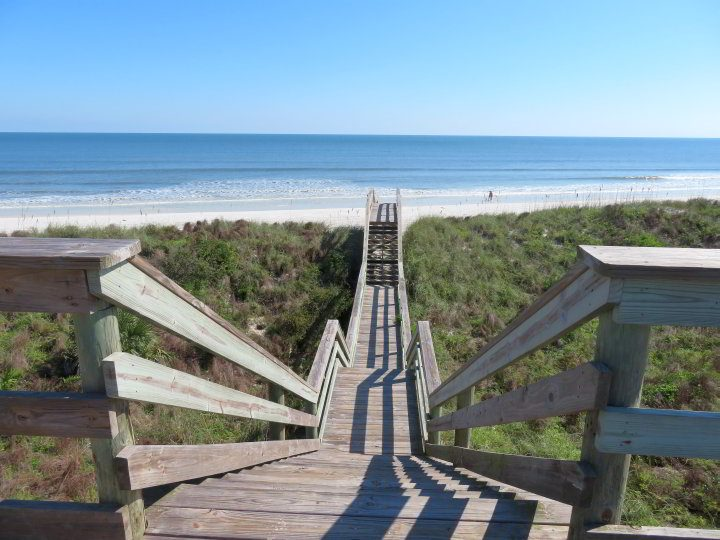 98 stairs on the boardwalk to Crescent Beach Florida