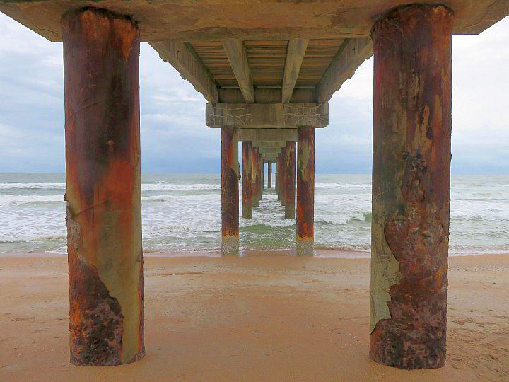 View from under the fishing pier at St Augustine Beach FL