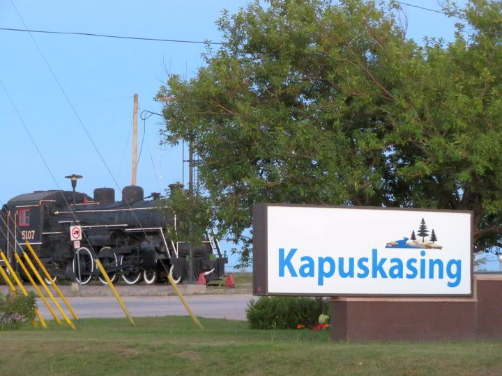 Kapuskasing Ontario welcome sign. The name derives from the Cree word for branch