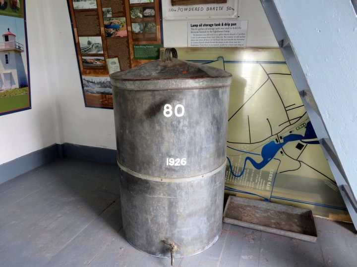 80 gallon lamp oil storage tank at Walton Lighthouse in Hants County Nova Scotia
