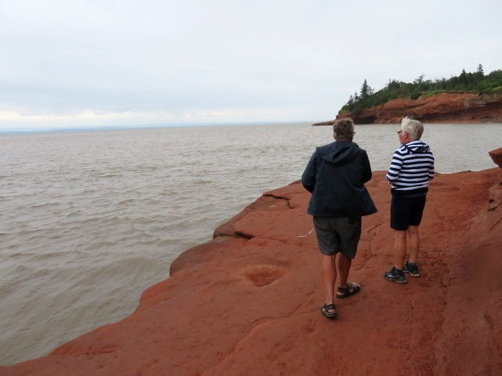 Visitors see Bay of Fundy high tide over the ocean floor they walked just hours earlier