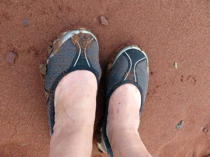 After walking the ocean floor your footwear will get muddy and sand covered.