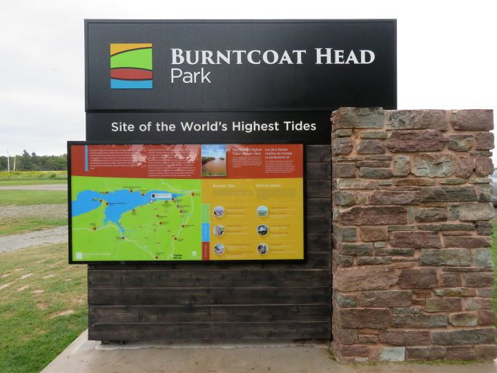 Sign for Burntcoat Head Park - site of the world's highest tides