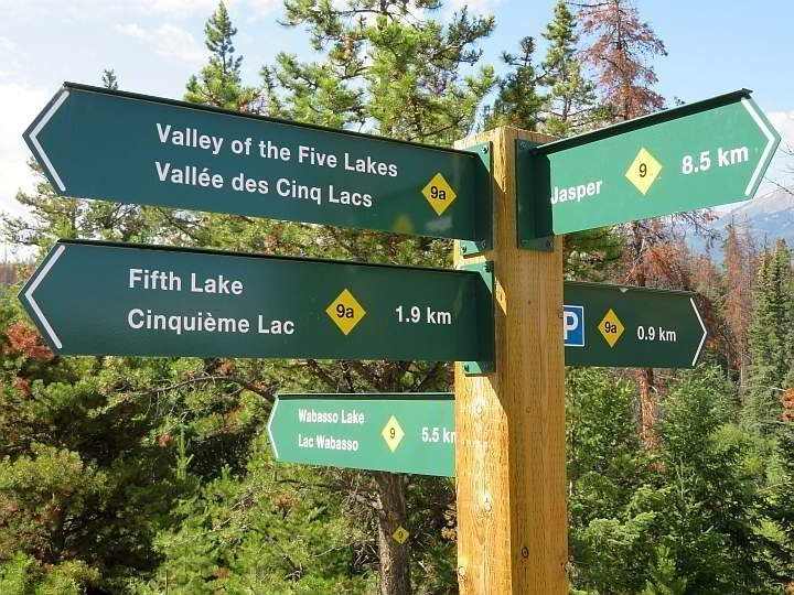 Hiking trail signs in Jasper National Park Alberta Canada