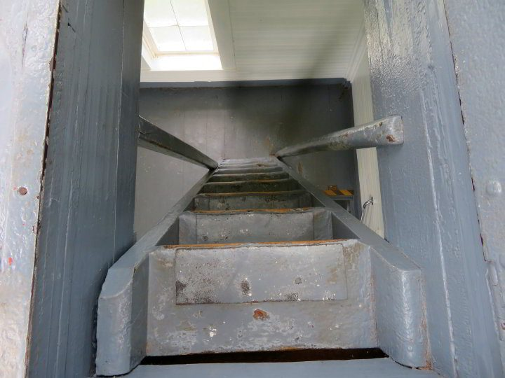 Steep and narrow staircase at the Walton Lighthouse in Nova Scotia