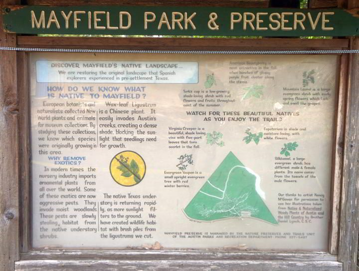 Info board about Mayfield Park's efforts to restore native landscape at the park