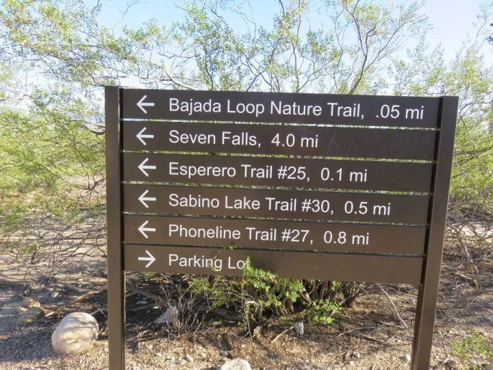 Sabino Canyon hiking trail information sign