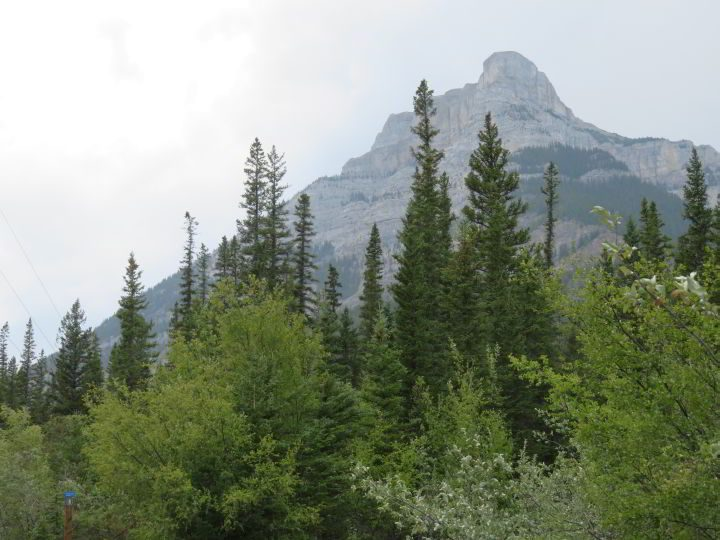 Rocky Mountain view while hiking the Grotto Canyon trail near Canmore