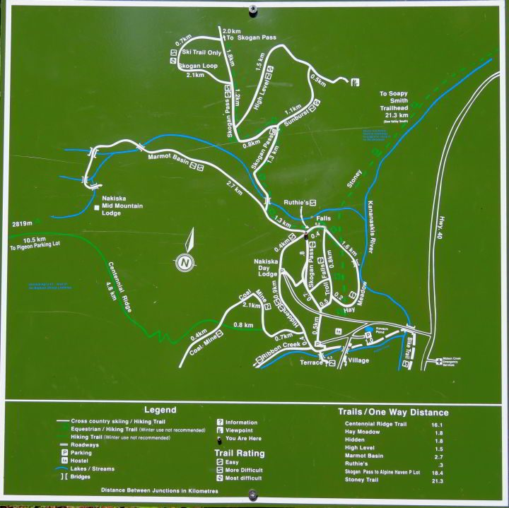 Trail map for Troll Falls and various other hikes in this area of Kananaskis Country AB