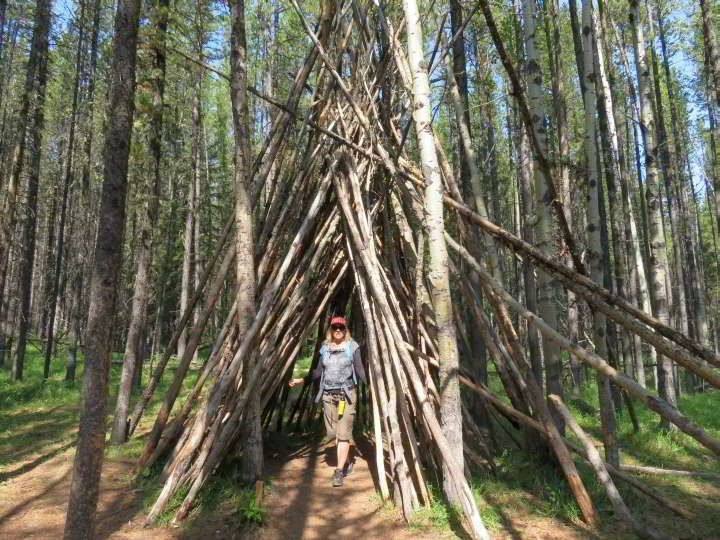 Hiker standing under a tree shelter next to the Troll Falls hiking trail in Kananaskis AB