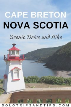 A scenic coastal drive and hiking trail to the beach are some of the fun things to do while visiting Cape Breton Island in Nova Scotia Canada