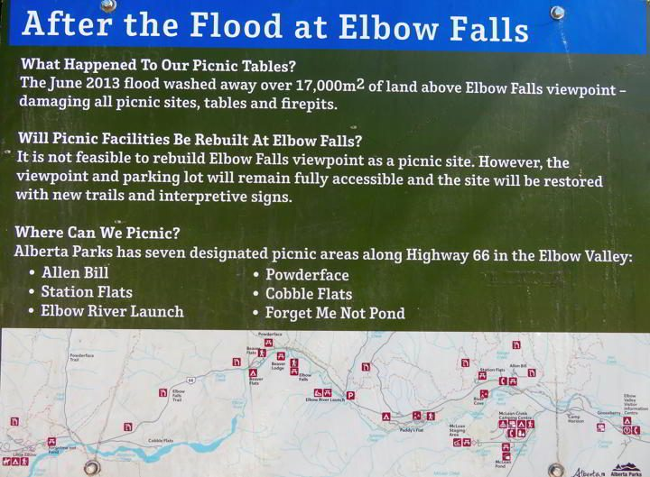 Signage at Elbow Falls about picnic areas near the falls