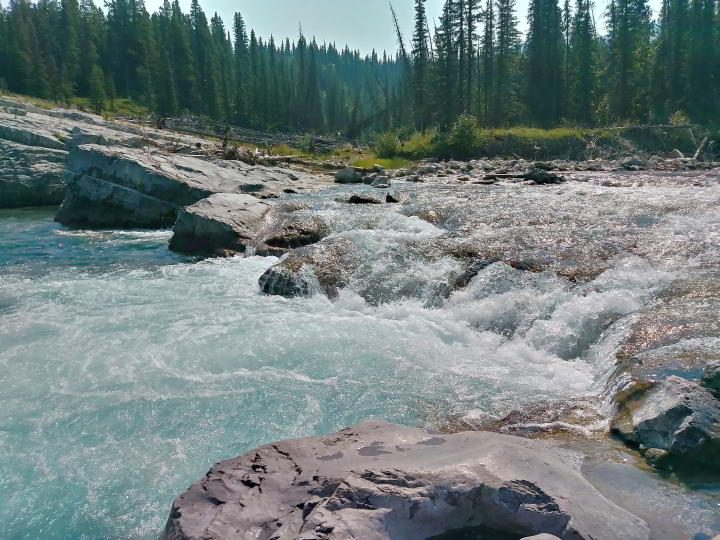 Elbow Falls is scenic spot to stop for a picnic and short walk along the Elbow River near Bragg Creek
