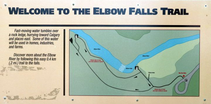 Sign at Elbow Falls with map of the trail to the waterfall