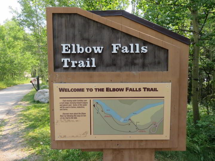Elbow Falls info sign at the trailhead by the parking lot