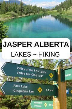 Jasper National Park features turquoise and emerald lakes in the Rocky Mountains of Alberta Canada