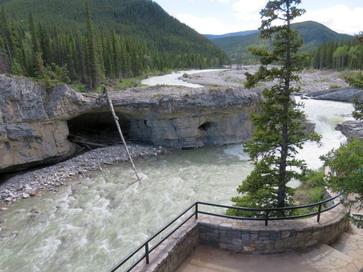 View of the Elbow River from the stone pathway at Elbow Falls hike in Kananaskis