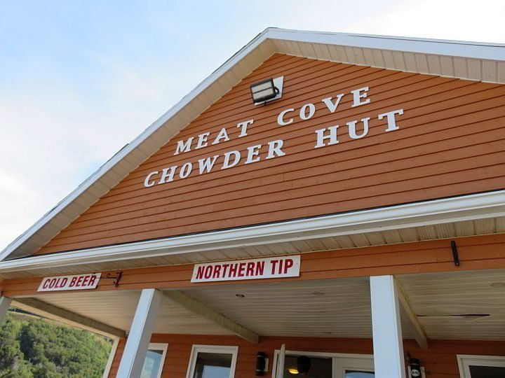 Meat Cove Chowder Hut is the place for cold beer, seafood, burgers, etc.