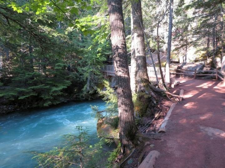 Avalanche Creek next to Trail of Cedars Trail which is wheelchair accessible