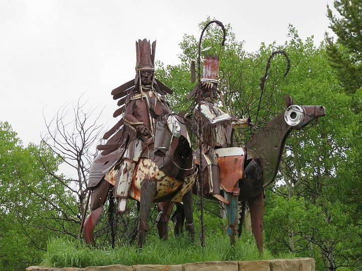Blackfeet Nation sculpture of two riders on horses located at Hwy 2 just outside of Glacier National Park