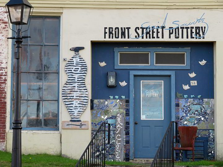 Gail Savitz Front Street Pottery gallery in downtown Belfast Maine