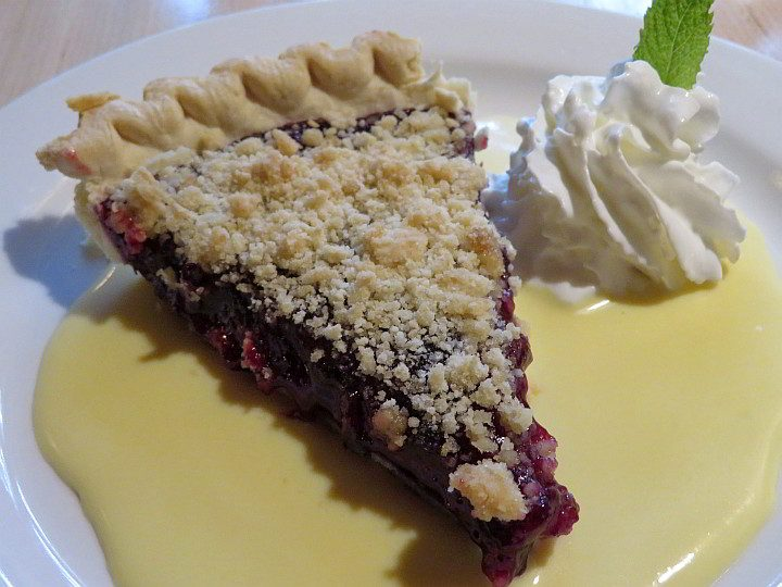 Huckleberry pie for dessert at Russell's Fireside Dining Room at Lake McDonald Lodge