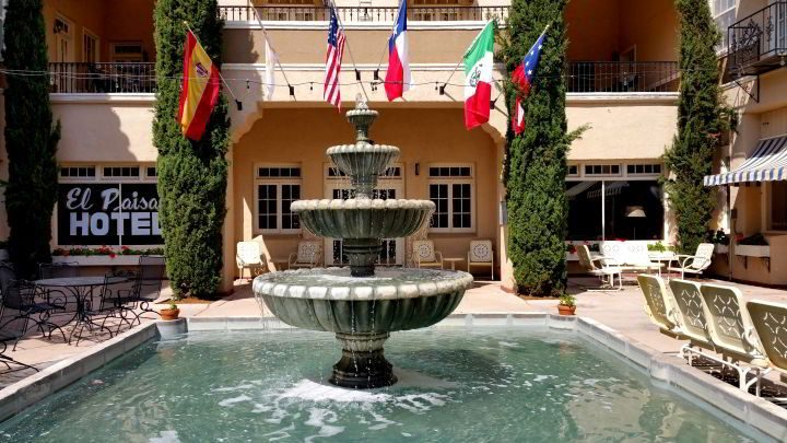 Paisano Hotel courtyard fountain in Marfa Texas
